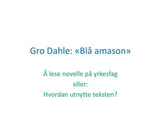 Gro Dahle: «Blå  amason »