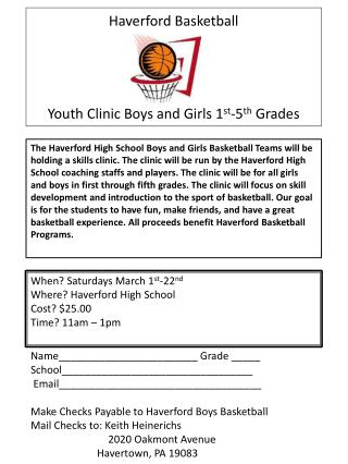 Haverford Basketball Youth Clinic Boys and Girls 1 st -5 th  Grades