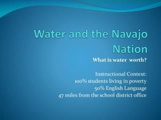Water and the Navajo Nation