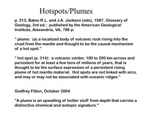 Hotspots/Plumes
