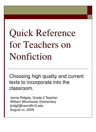 Quick Reference for Teachers on Nonfiction