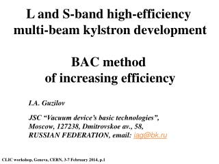 L and S-band high-efficiency  multi-beam kylstron development BAC method  of increasing efficiency