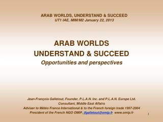 ARAB WORLDS  UNDERSTAND & SUCCEED O pportunities and perspectives
