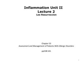 Chapter 53  Assessment and Management of Patients With Allergic Disorders  pp538-541