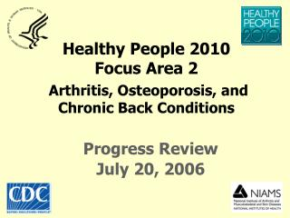 H ealthy People  2010 Focus Area 2 Arthritis, Osteoporosis, and  Chronic Back Conditions