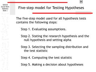 Five-step model for Testing Hypotheses