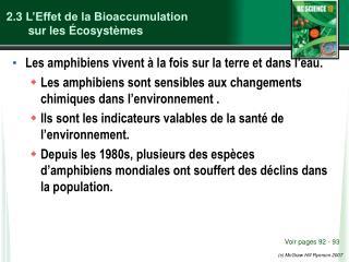 2.3  L'Effet de la Bioaccumulation  sur les Écosystèmes