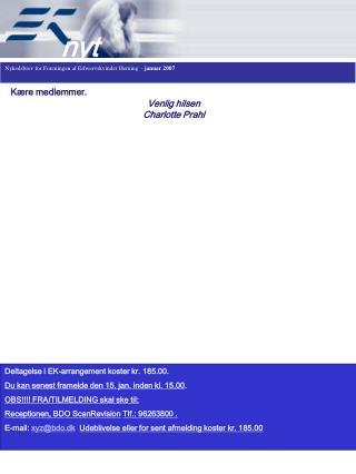 Nyhedsbrev for Foreningen af Erhvervskvinder Herning –  januar 2007