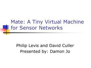Mate: A Tiny Virtual Machine for Sensor Networks