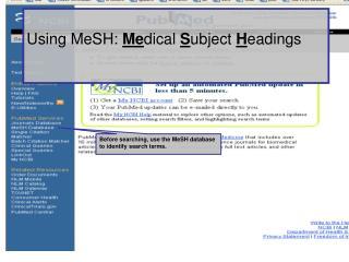 Using MeSH:  Me dical  S ubject  H eadings