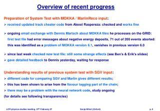 Overview of recent progress