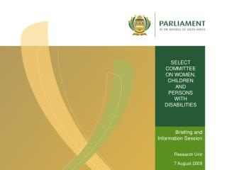 SELECT COMMITTEE ON WOMEN, CHILDREN AND PERSONS WITH DISABILITIES