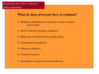 What do these processes have in common? 1)  Hydrogen embrittlement of pressure vessels in nuclear
