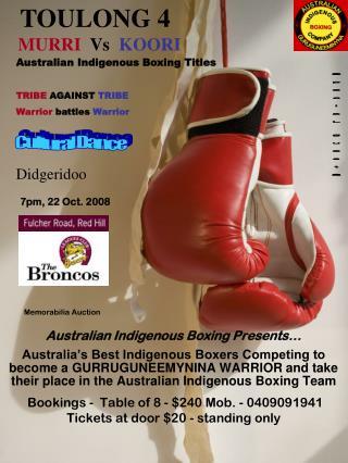 Australian Indigenous Boxing Presents…