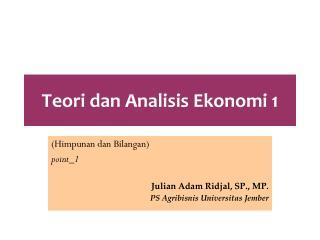 Teori dan Analisis Ekonomi 1
