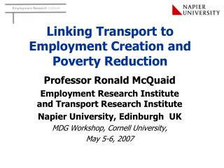 Linking Transport to Employment Creation and Poverty Reduction