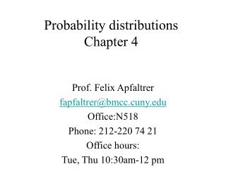 Probability distributions   Chapter 4