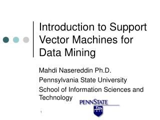 Introduction to Support Vector Machines for Data Mining