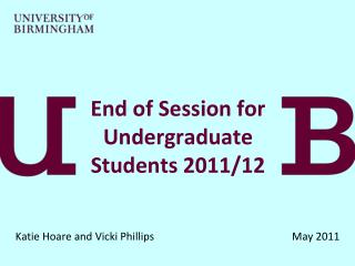 End of Session for Undergraduate Students 2011/12