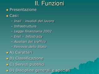 II. Funzioni