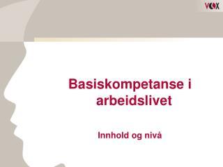 Basiskompetanse i arbeidslivet Innhold og nivå