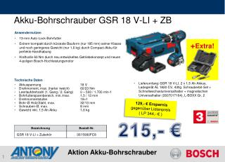 Akku-Bohrschrauber GSR 18 V-LI + ZB