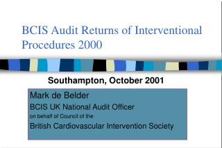 BCIS Audit Returns of Interventional Procedures 2000