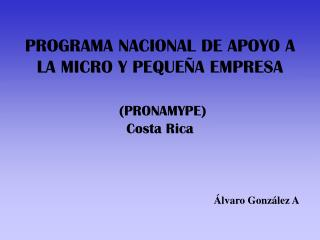 PROGRAMA NACIONAL DE APOYO A LA MICRO Y PEQUE�A EMPRESA (PRONAMYPE) Costa Rica
