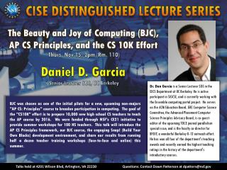 CISE DISTINGUISHED LECTURE SERIES