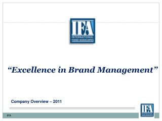 Excellence in Brand Management