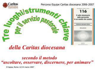 """della Caritas diocesana secondo il metodo  """"ascoltare, osservare, discernere, per animare"""""""