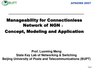 Manageability for  C onnectionless  N etwork of NGN  ? Concept,  M odeling and  A pplication
