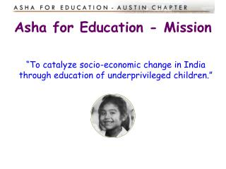 Asha for Education - Mission