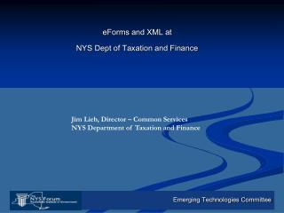 eForms  and XML at NYS Dept of Taxation and Finance