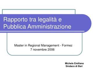 Rapporto tra legalit� e Pubblica Amministrazione