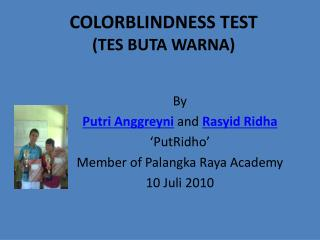 COLORBLINDNESS TEST (TES BUTA WARNA)