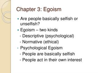 Chapter 3: Egoism