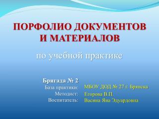 ПОРФОЛИО ДОКУМЕНТОВ  И МАТЕРИАЛОВ