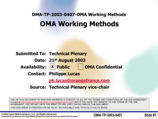 OMA-TP-2003-0407- OMA Working Methods OMA Working Methods
