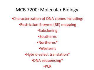 MCB 7200: Molecular Biology