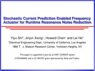 Stochastic Current Prediction Enabled Frequency Actuator for Runtime Resonance Noise Reduction