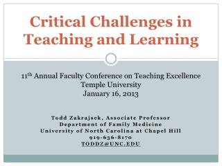 Critical Challenges in  Teaching and Learning
