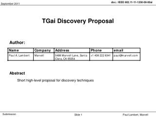 TGai Discovery Proposal