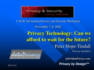 Privacy Technology: Can we afford to wait for the future?