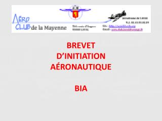BREVET  D�INITIATION A�RONAUTIQUE BIA