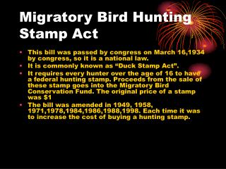 Migratory Bird Hunting Stamp Act
