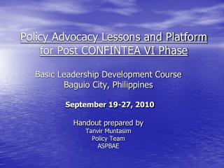 Policy Advocacy Lessons and Platform for Post CONFINTEA VI Phase