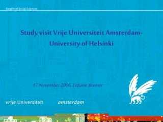 Study visit Vrije Universiteit Amsterdam- University of Helsinki
