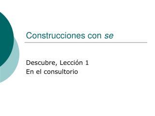 Construcciones con  se