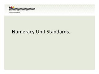 Numeracy Unit Standards.